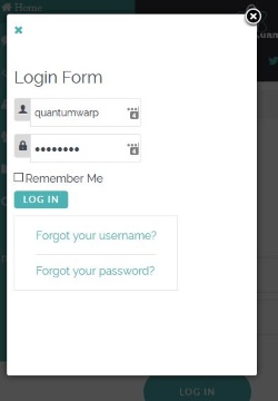Login Box in Modal Box with no styling